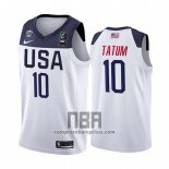 Camiseta USA Jayson Tatum NO 10 2019 FIBA Basketball World Cup Blanco