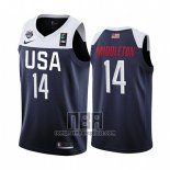 Camiseta USA Khris Middleton NO 14 2019 FIBA Basketball World Cup Azul