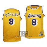 Camiseta Nino Los Angeles Lakers Kobe Bryant NO 8 Retro Amarillo