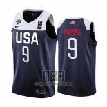 Camiseta USA Jaylen Brown NO 9 2019 FIBA Basketball World Cup Azul