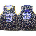 Camiseta Camuflaje Los Angeles Lakers Lebron James NO 23 Verde