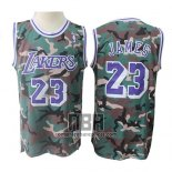 Camiseta Los Angeles Lakers Lebron James NO 23 Camuflaje Verde