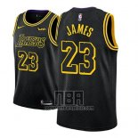 Camiseta Nino Los Angeles Lakers Lebron James NO 23 Ciudad 2017-18 Negro