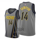 Camiseta Indiana Pacers Jakarr Sampson NO 14 Ciudad Gris