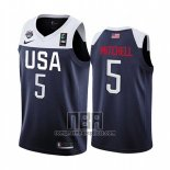 Camiseta USA Donovan Mitchell NO 5 2019 FIBA Basketball World Cup Azul