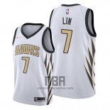 Camiseta Atlanta Hawks Jeremy Lin NO 7 Ciudad Edition Blanco