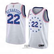 Camiseta Philadelphia 76ers Malachi Richardson NO 22 Earned 2018-19 Blanco