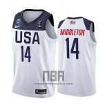 Camiseta USA Khris Middleton NO 14 2019 FIBA Basketball World Cup Blanco