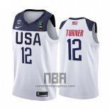 Camiseta USA Myles Turner NO 12 2019 FIBA Basketball World Cup Blanco