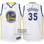Camiseta Nino Golden State Warriors Kevin Durant NO 35 2017-18 Blanco