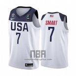 Camiseta USA Marcus Smart NO 7 2019 FIBA Basketball World Cup Blanco