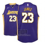Camiseta Nino Los Angeles Lakers Lebron James NO 23 Statement 2017-18 Violeta