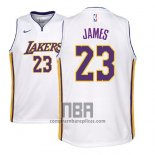 Camiseta Nino Los Angeles Lakers Lebron James NO 23 Association 2017-18 Blanco