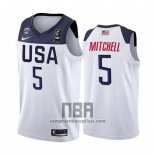 Camiseta USA Donovan Mitchell NO 5 2019 FIBA Basketball World Cup Blanco