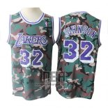 Camiseta Los Angeles Lakers Magic Johnson NO 32 Camuflaje Verde