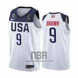 Camiseta USA Jaylen Brown NO 9 2019 FIBA Basketball World Cup Blanco