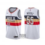 Camiseta New Orleans Pelicans E'twaun Moore NO 4 Earned Blanco