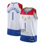 Camiseta New Orleans Pelicans Zion Williamson NO 1 Ciudad 2020-21 Blanco