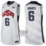 Camiseta USA 2012 Lebron James NO 6 Blanco