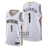 Camiseta New Orleans Pelicans Zion Williamson NO 1 Association 2019-20 Blanco
