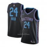 Camiseta Sacramento Kings Buddy Hield NO 24 Ciudad 2020-21 Negro