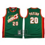 Camiseta Seattle SuperSonics Gary Payton NO 20 Historic Retro Verde2