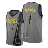 Camiseta Indiana Pacers T.j. Warren NO 1 Ciudad Gris