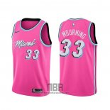 Camiseta Miami Heat Alonzo Mourning NO 33 Earned Rosa