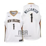 Camiseta Nino New Orleans Pelicans Zion Williamson NO 1 Association 2019 Blanco
