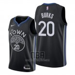 Camiseta Golden State Warriors Alec Burks NO 20 Ciudad 2019-20 Negro