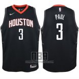 Camiseta Nino Houston Rockets Chris Paul NO 3 Statehombret 2017-18 Negro
