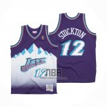 Camiseta Utah Jazz John Stockton NO 12 Hardwood Classics Throwback 1996-97 Violeta