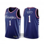 Camiseta Philadelphia 76ers Mike Scott NO 1 Ciudad 2019-20 Azul