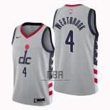 Camiseta Washington Wizards Russell Westbrook NO 4 Ciudad 2020-21 Gris