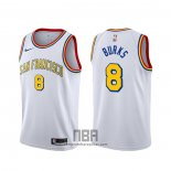 Camiseta Golden State Warriors Alec Burks NO 8 Classic Edition 2019-20 Blanco