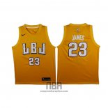 Camiseta LBJ Los Angeles Lakers Lebron James NO 23 Oro