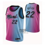 Camiseta Miami Heat Jimmy Butler NO 22 Ciudad 2020-21 Azul Rosa