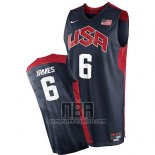 Camiseta USA 2012 Lebron James NO 6 Negro