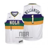 Camiseta Nino New Orleans Pelicans Zion Williamson NO 1 Ciudad 2019 Blanco