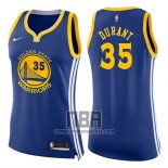 Camiseta Mujer Golden State Warriors Kevin Durant NO 35 Icon 2017-18 Azul