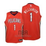 Camiseta Nino New Orleans Pelicans Zion Williamson NO 1 Statement 2019 Rojo